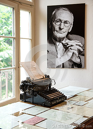 Portrait and original typewriter in Herman Hesse museum Editorial Image