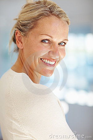 Portrait os a sweet mature woman smiling