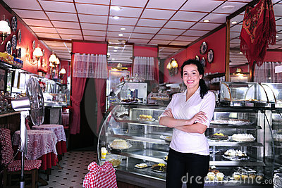 Portrait of the owner of a cafe