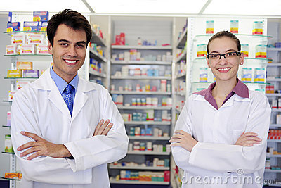 Portrait of pharmacists at pharmacy