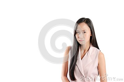 Portrait photo of asian woman with angry expression face. Stock Photo