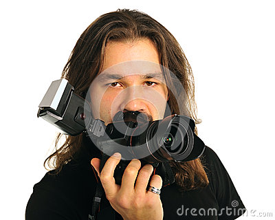 Portrait photographer with a camera