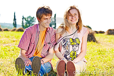 Portrait of playful young love couple having fun