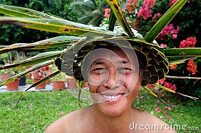 Portrait of Polynesian Pacific Island Tahitian mature woman Aitu