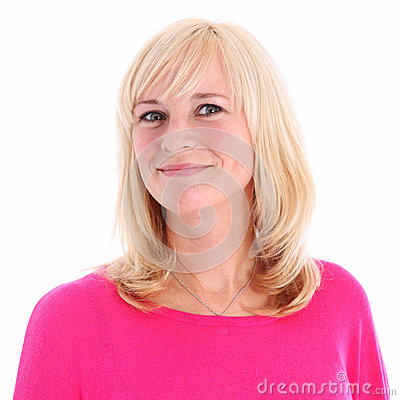Portrait of positive blonde woman