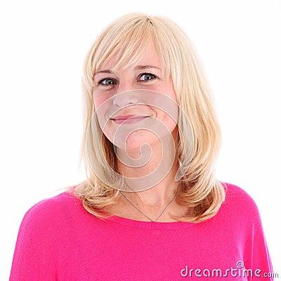 Portrait of positive blonde woman