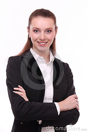Portrait of positive business woman.