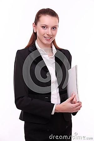 Portrait of positive business woman.