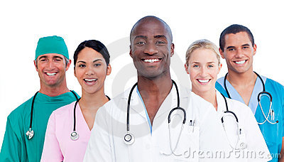 Portrait of positive medical team