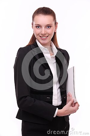 Portrait of positive young business woman.