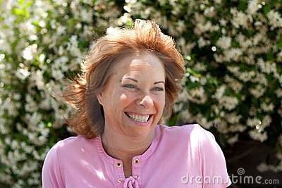 Portrait of pretty but aging 50-year old woman