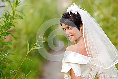 Portrait of pretty brunette bride