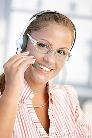 Portrait of pretty dispatcher working smiling