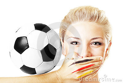 Portrait Of A Pretty Football Fan Gesturing Royalty Free Stock Image - Image: 14761226