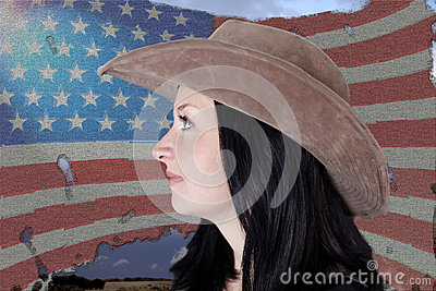 Portrait of a pretty girl on a  American flag
