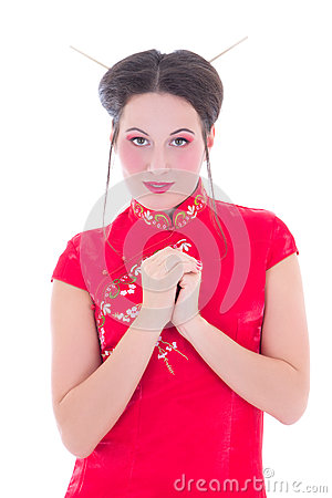 Portrait of pretty girl in red japanese dress isolated on white