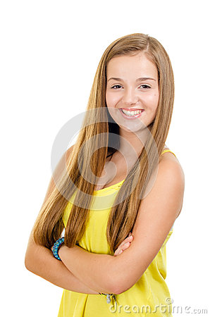 Portrait of pretty, teen girl smiling
