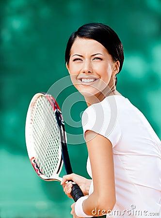 Portrait of pretty tennis player