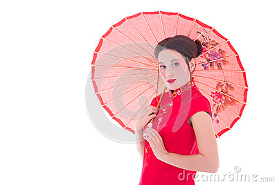Portrait of pretty woman in red japanese dress with umbrella iso