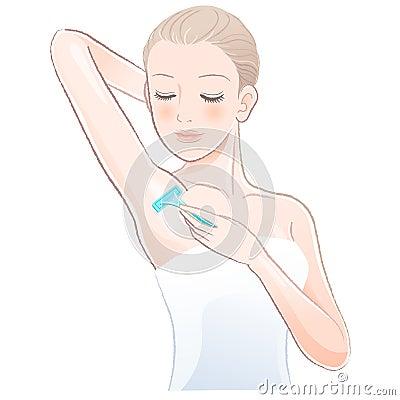 Portrait of pretty woman shaving underarm with razor