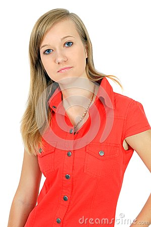 Portrait of pretty young girl in red shirt