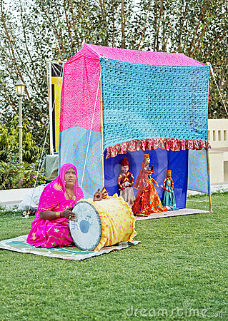 Portrait of Rajasthani puppet performance Editorial Photography