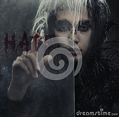 Portrait of raven-woman