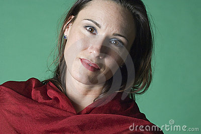 Portrait in red and green