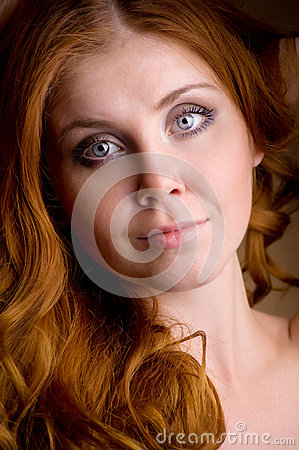 Portrait of a redhead female  model