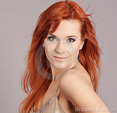 Portrait of redhead woman
