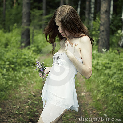 Portrait Of Romantic Woman At Fairy Forest Stock Photo - Image: 20206680