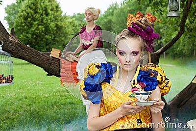 Portrait of romantic women in fairy forest