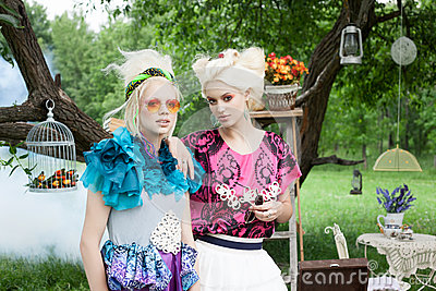 Portrait of romantic women in fairy forest
