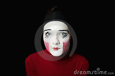 Portrait of the sad mime
