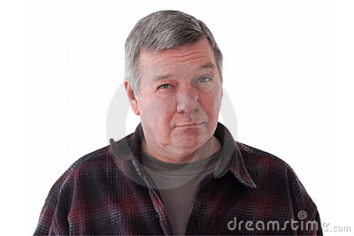 Portrait of sad senior man, isolated on white.