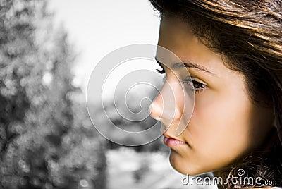 Portrait of sad teenager
