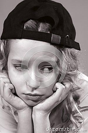 Portrait of a sad teenager