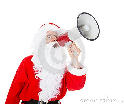 Portrait of santa shouting in megaphone