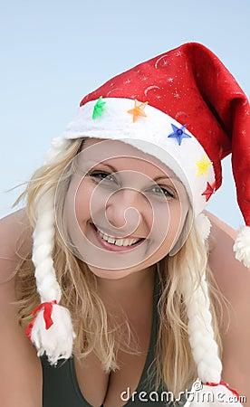 Portrait Santa woman on the beach