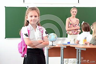 Portrait of schoolgirl with backpack