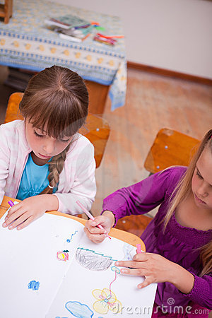 Portrait of a schoolgirls drawing