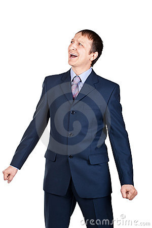 Portrait of a screaming businessman