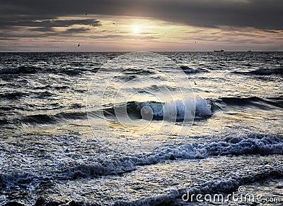 Portrait of sea wave on sunset