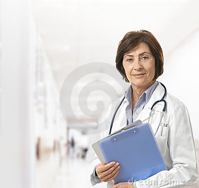 Portrait of senior female doctor