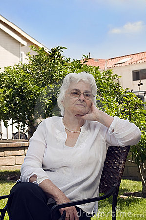 Portrait of senior lady outdoors