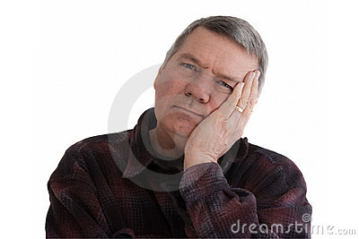 Portrait of senior man, isolated on white.