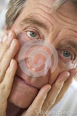 Portrait Of A Senior Man Looking Worried