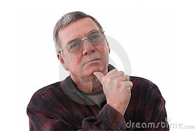 Portrait of senior man lost in thought