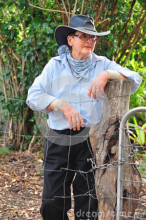 Free Portrait Senior Woman Australian Sheep Farmer In Traditional Akubra. Royalty Free Stock Photography - 80473977