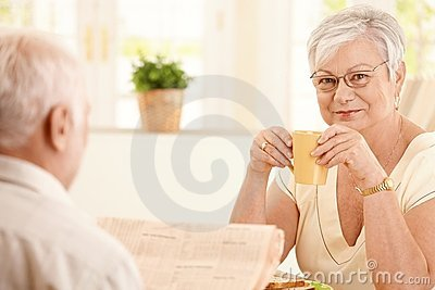 Portrait of senior woman having morning coffee